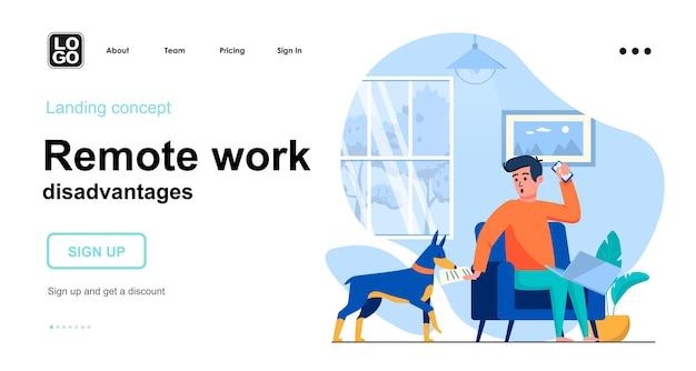 Plantilla de página de destino de desventajas del trabajo remoto