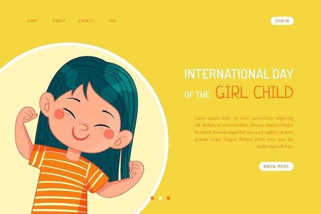 Plantilla de página de destino del día internacional de la niña dibujada a mano