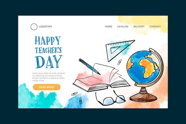 Plantilla de página de destino del día del maestro dibujada a mano