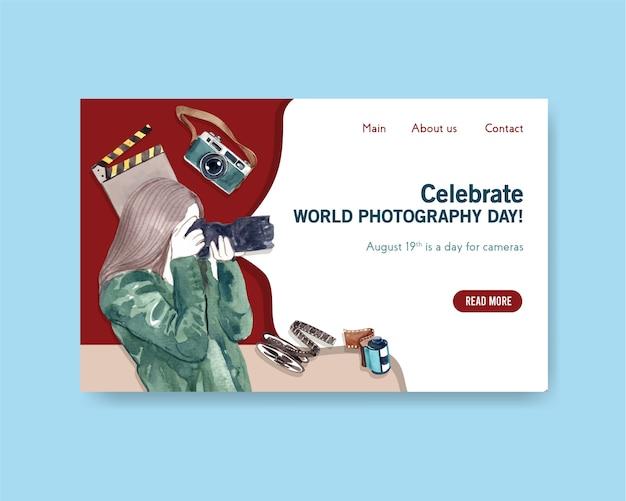 Plantilla de página de destino para el día mundial de la fotografía