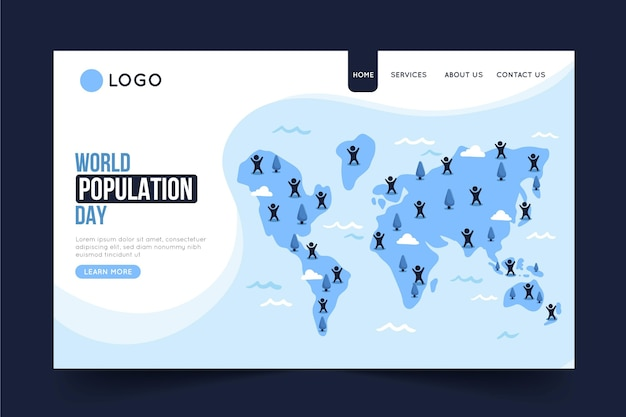 Plantilla de página de destino del día mundial de la población plana orgánica