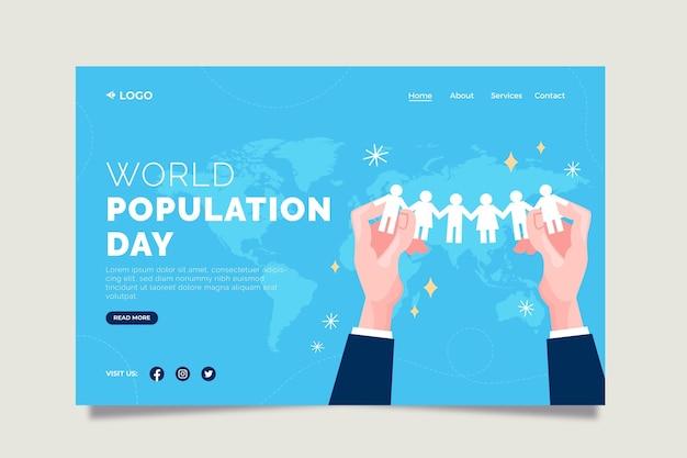 Plantilla de página de destino del día mundial de la población plana