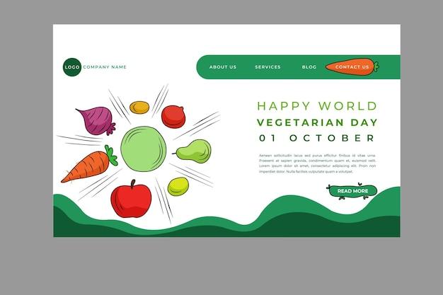 Plantilla de página de destino del día mundial del vegetariano dibujada a mano