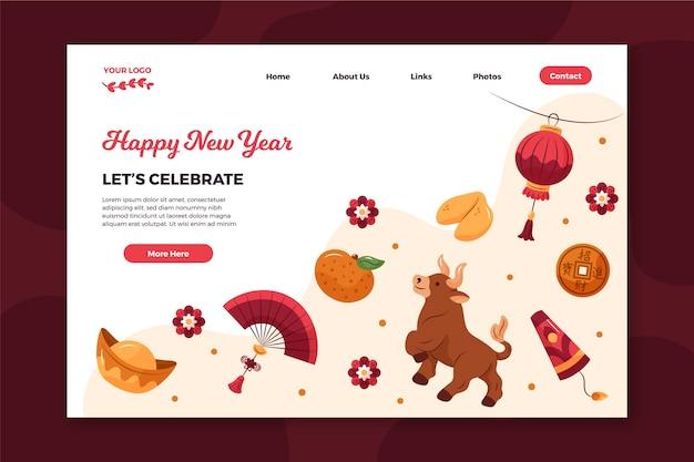 Plantilla de página de destino dibujada a mano para el año nuevo chino