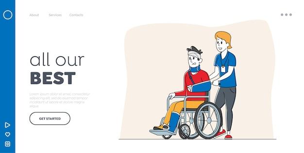 Plantilla de página de destino de discapacidad. personaje masculino discapacitado con mano rota y pierna en silla de ruedas con asistencia de enfermera. paciente hombre en el hospital de traumatología. gente lineal