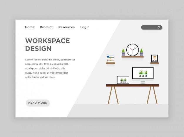 Plantilla de página de destino de diseño de área de trabajo