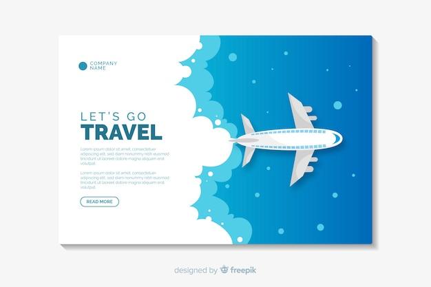 Plantilla de página de destino de diseño plano de viaje