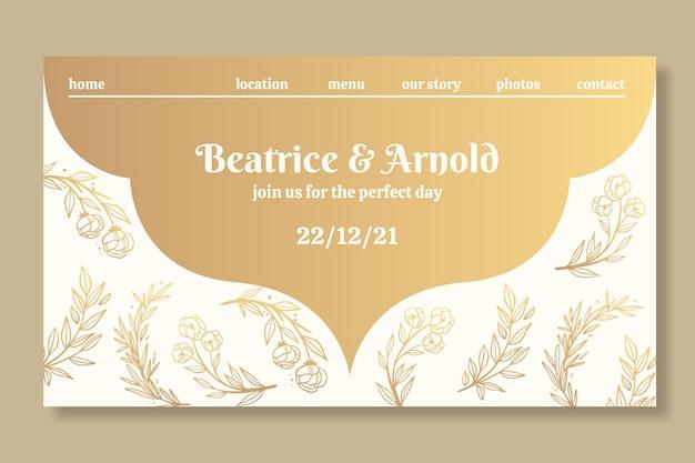 Plantilla de página de destino dorada para boda
