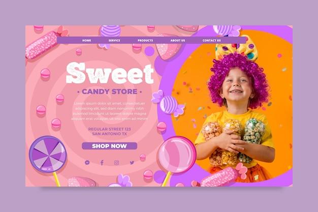 Plantilla de página de destino de dulces con niño