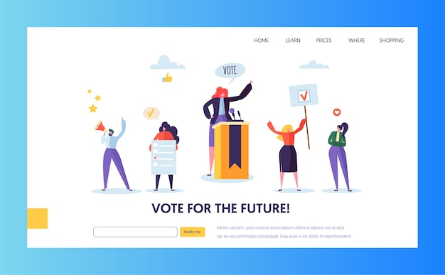 Plantilla de página de destino de elecciones de votación. concepto de reunión política de personajes de personas de negocios para sitio web o página web.