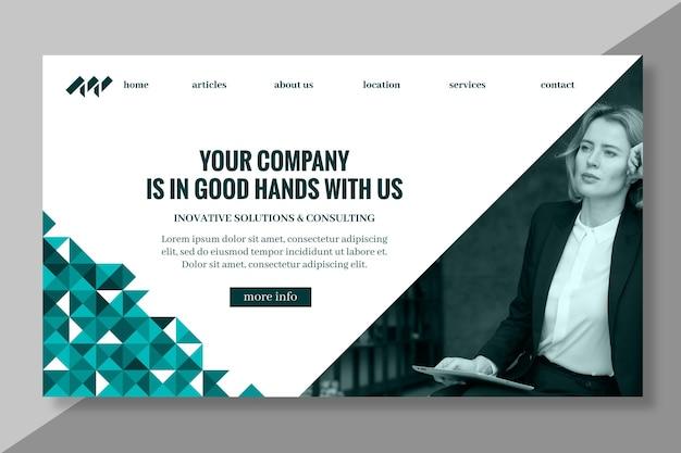 Plantilla de página de destino de empresaria
