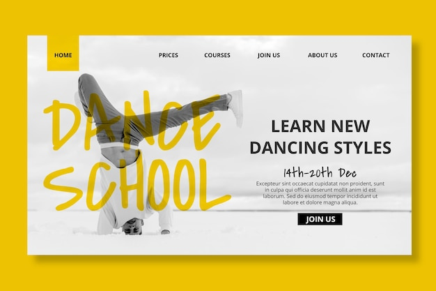 Plantilla de página de destino de escuela de baile con bailarín