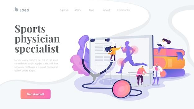 Plantilla de página de destino de especialista en médicos deportivos