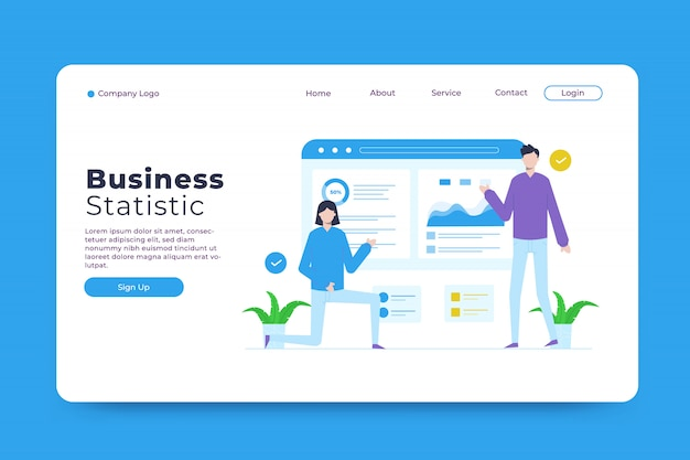 Plantilla de página de destino de estadísticas empresariales