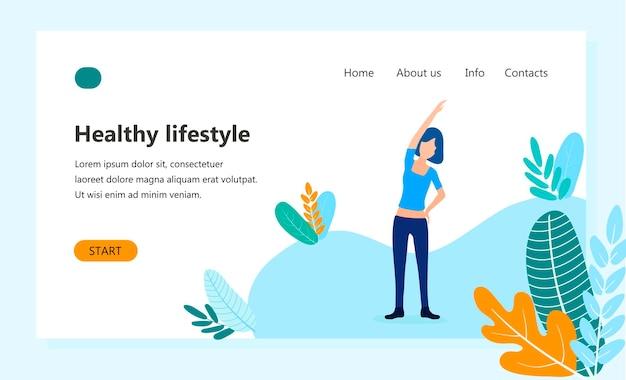 Plantilla de página de destino de estilo de vida saludable, fitness femenino, chica haciendo actividad física al aire libre. concepto de diseño plano moderno de diseño de página web para sitio web. ilustración de vector de mujer deportiva en forma.