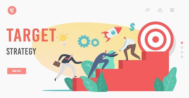 Plantilla de página de destino de estrategia de destino. personajes de hombres de negocios subiendo la escalera, llegando al éxito financiero tratando de alcanzar un gran objetivo en la cima. desafío de negocio. ilustración de vector de gente de dibujos animados