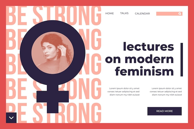 Plantilla de página de destino de feminismo con foto