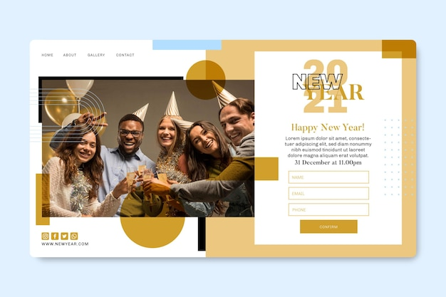 Plantilla de página de destino para fiesta de año nuevo con amigos