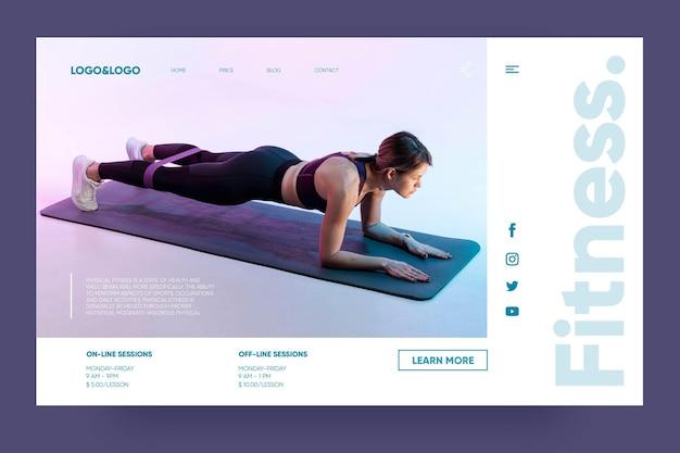 Plantilla de página de destino de fitness y entrenamiento