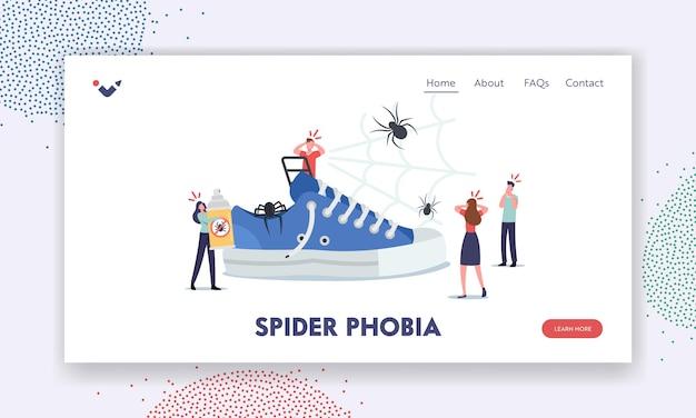 Plantilla de página de destino de fobia a las arañas. pequeños personajes alrededor de una zapatilla enorme, gente asustada con miedo a los insectos, problema psicológico de la aracnofobia. gente aterradora en pánico. ilustración vectorial de dibujos animados