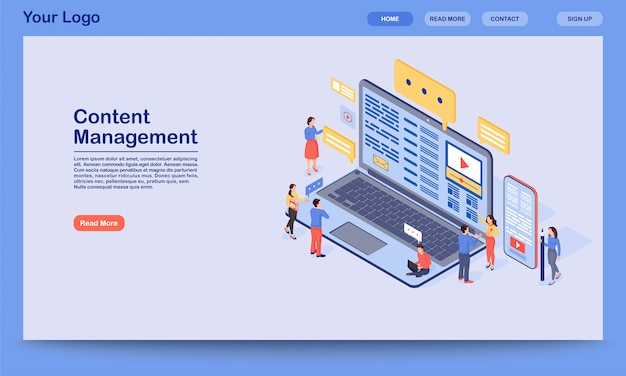 Plantilla de página de destino de gestión de contenido. idea de interfaz de sitio web de marketing entrante digital con ilustración. smm, diseño de página de publicidad de medios. web, concepto de dibujos animados de página web