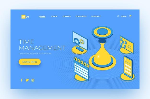 Plantilla de página de destino de gestión del tiempo de esquema isométrico