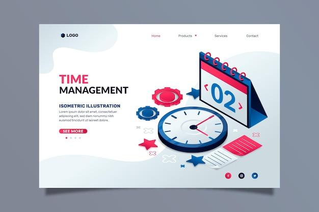 Plantilla de página de destino de gestión de tiempo isométrica