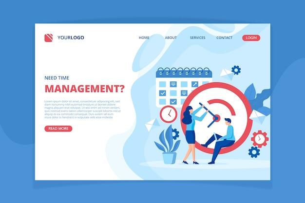 Plantilla de página de destino de gestión del tiempo