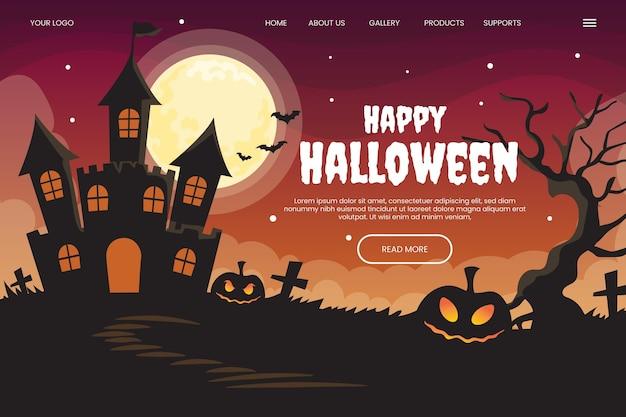 Plantilla de página de destino de halloween plana