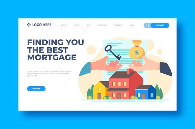 Plantilla de página de destino de hipotecas