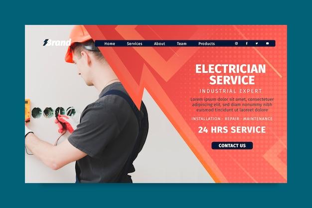 Plantilla de página de destino de hombre de servicio de electricista