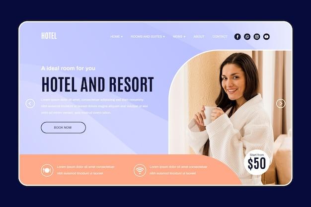 Plantilla de página de destino de hotel moderno con foto