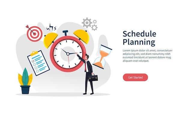 Plantilla de página de destino de la ilustración del concepto de planificación de horarios, planificador de tiempo de negocios, evento y grupo de trabajo