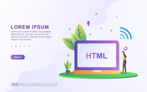 Plantilla de página de destino con ilustraciones para crear un sitio web usando html