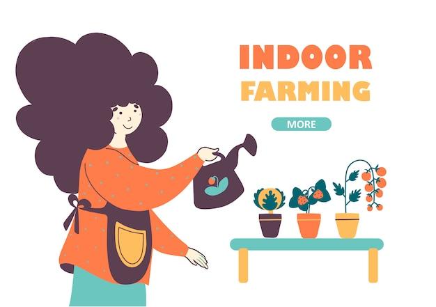 Plantilla de página de destino de la industria de agricultura y horticultura de interior