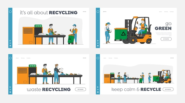 La plantilla de la página de destino de la industria de la basura establece los caracteres que trabajan en la planta de reciclaje de residuos