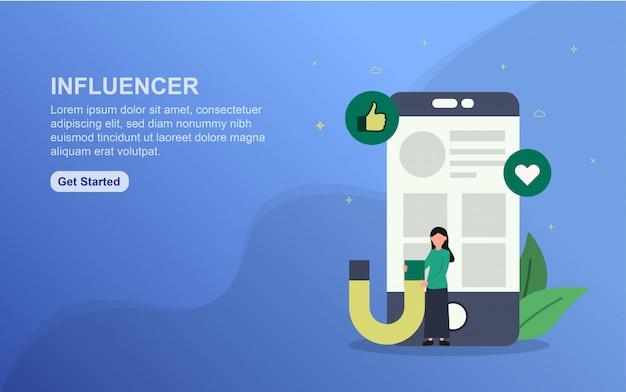 Plantilla de página de destino de influencia concepto de diseño plano del diseño de la página web para el sitio web.