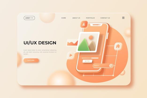 Plantilla de página de destino de interfaz de usuario / ux realista