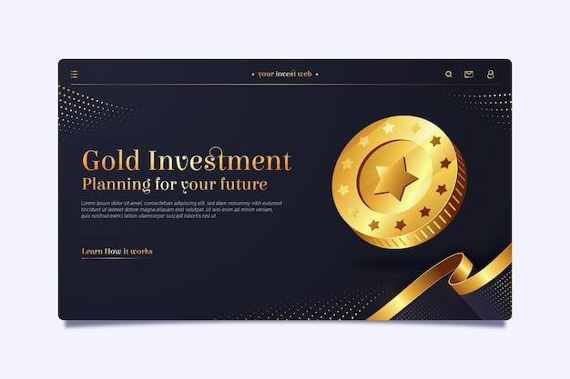 Plantilla de página de destino para inversión en oro.