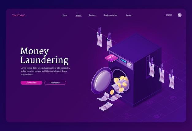 Plantilla de página de destino isométrica de lavado de dinero