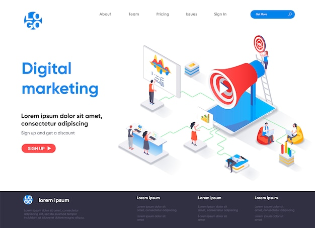 Plantilla de página de destino isométrica de marketing digital