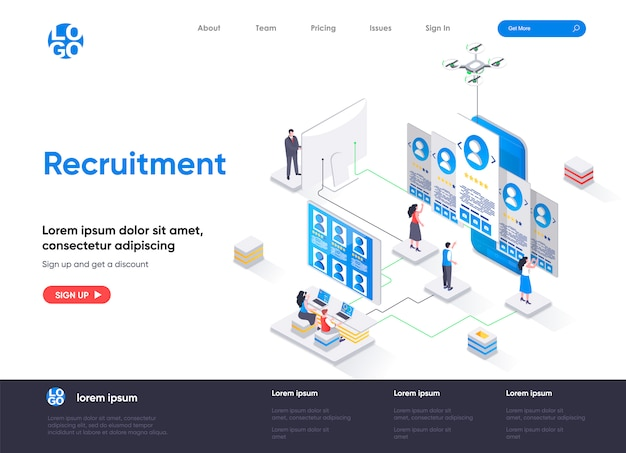 Plantilla de página de destino isométrica de reclutamiento