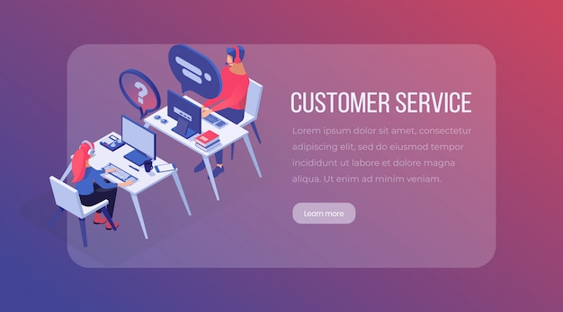 Plantilla de página de destino isométrica de servicio al cliente.