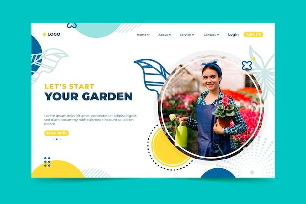 Plantilla de página de destino de jardín