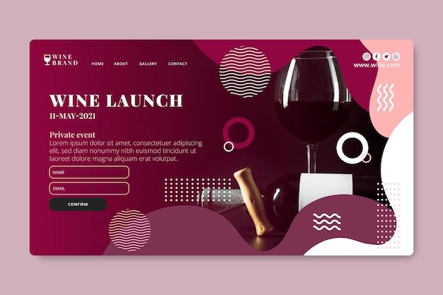 Plantilla de página de destino de lanzamiento de vino