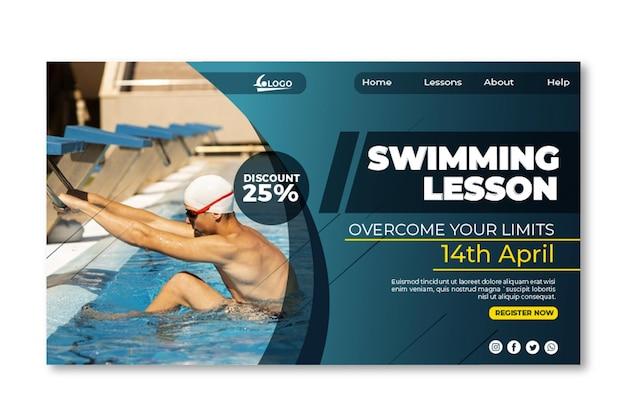 Plantilla de página de destino de lección de natación