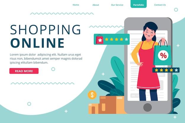 Plantilla de página de destino en línea de compras de diseño plano con dependienta