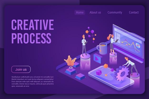 Plantilla de página de destino de luz de neón violeta oscura isométrica de proceso creativo.