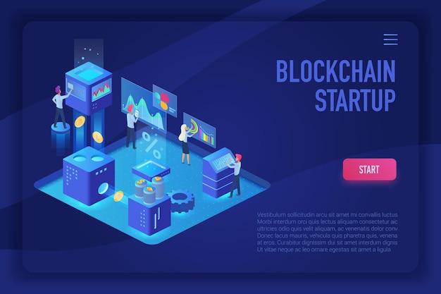 Plantilla de página de destino de luz ultravioleta isométrica de inicio de blockchain de criptomonedas