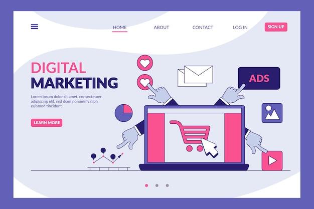 Plantilla de página de destino de marketing digital